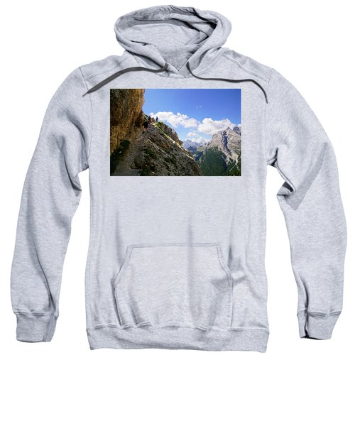 Hikers On Steep Trail Up Monte Piana Sweatshirt
