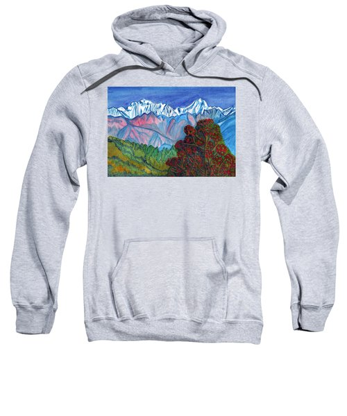 Blooming Tree On A Background Of Snowy Mountains Sweatshirt