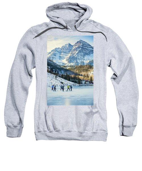 Hockey On Maroon Lake Maroon Bells Aspen Colorado Sweatshirt