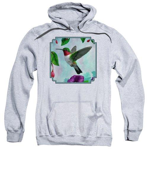 Hummingbird Flying In Spring Flower Garden 2 Sweatshirt