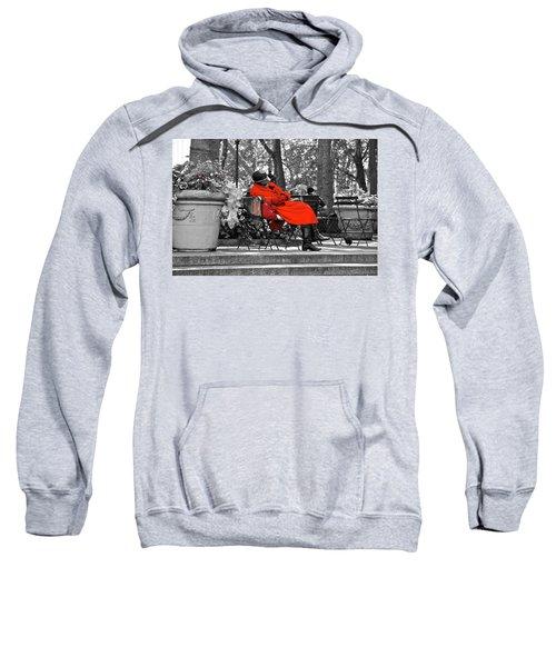 Lady In Red Sweatshirt