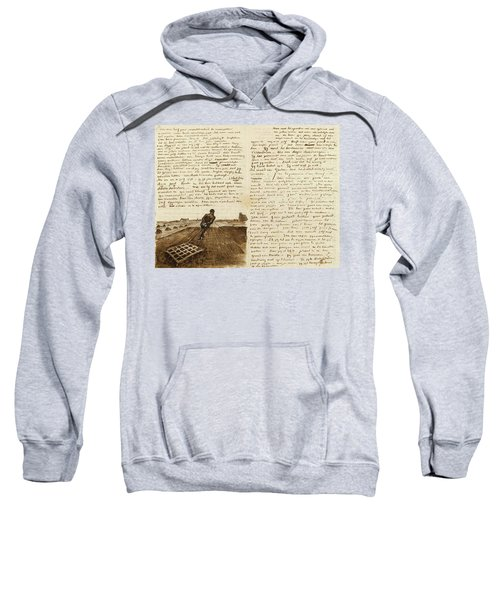 Letter From Vincent Van Gogh To Theo Van Gogh With Sketch Of Man Pulling A Harrow Sweatshirt