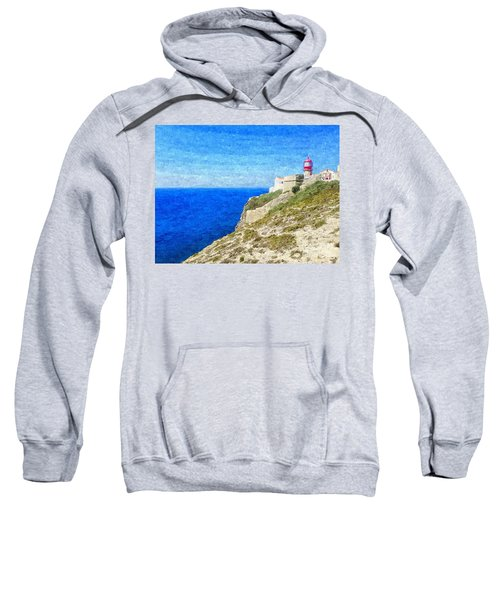Lighthouse On Top Of A Cliff Overlooking The Blue Ocean On A Sunny Day, Painted In Oil On Canvas. Sweatshirt