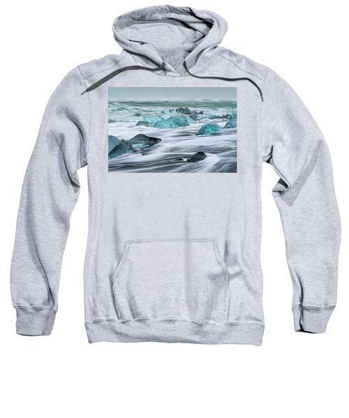 Long Exposure At The Jokulsarlon Ice Beach Sweatshirt