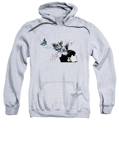 Long Gone Whisper IIi - Blue - Butterfly Girl Spray Paint Graffiti Painting Sweatshirt