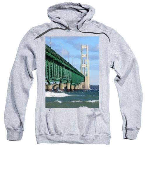 Mackinac Bridge And Waves Sweatshirt