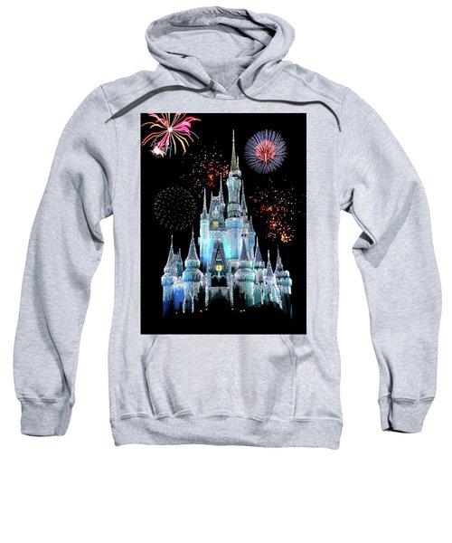 Magic Kingdom Castle In Frosty Light Blue With Fireworks 06 Sweatshirt