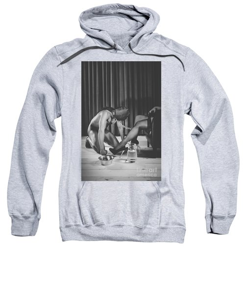 Man With Masked Face On His Knees In Front Of His Mistress Sweatshirt