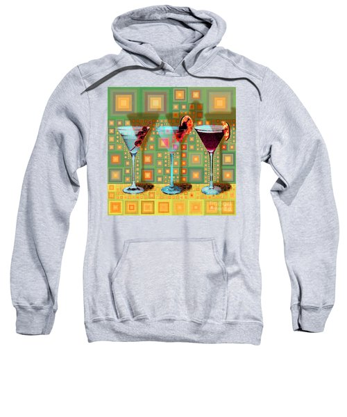 Mid Century Modern Abstract Mcm Three Martinis Shaken Not Stirred 20190127 V1 Square Sweatshirt
