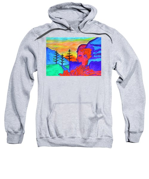 Mystical Rock With A Profile At Sunrise Sweatshirt