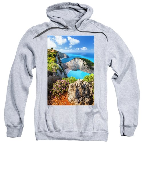 Sweatshirt featuring the photograph Navagio Bay by Evgeni Dinev