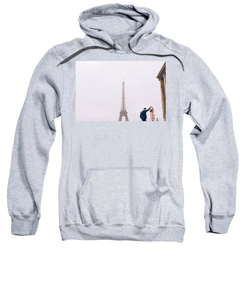 Newly-wed Couple On Their Honeymoon In Paris, Loving Having A Date Near The Eiffel Tower Sweatshirt