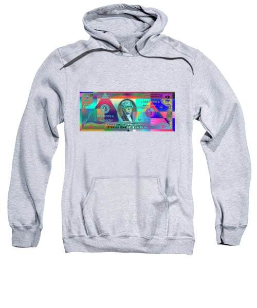 Obverse Of A Colorized Two U. S. Dollar Bill  Sweatshirt