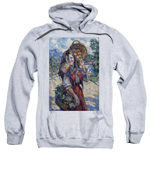 Peasant Girl With Fruit And Flowers Sweatshirt