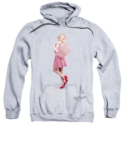 Pin Up Girl Wearing Stripped Red Dress Holding Bag Sweatshirt