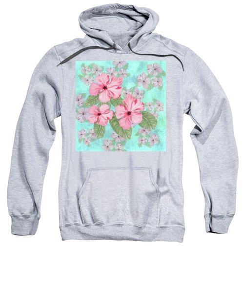 Pink Hibiscus Print On Aqua Sweatshirt