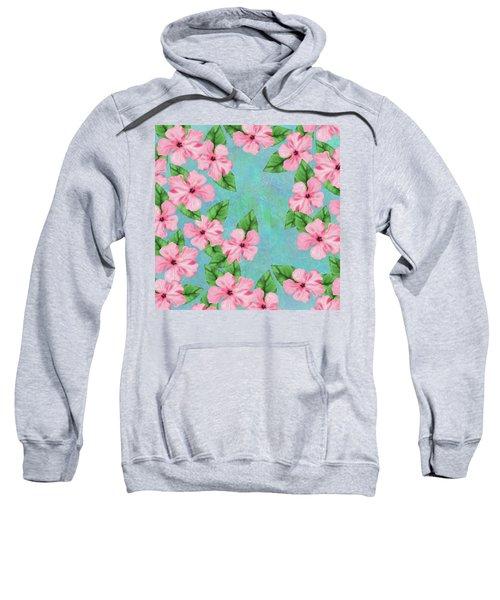Pink Hibiscus Tropical Floral Print Sweatshirt