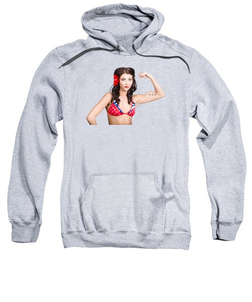 Pinup Girl Flexing Biceps Muscle. Bodybuilding Sweatshirt