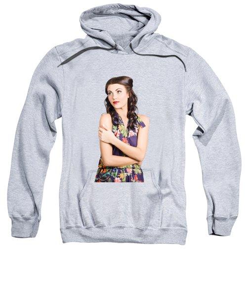 Portrait Of Beautiful Female Fashion Model Sweatshirt