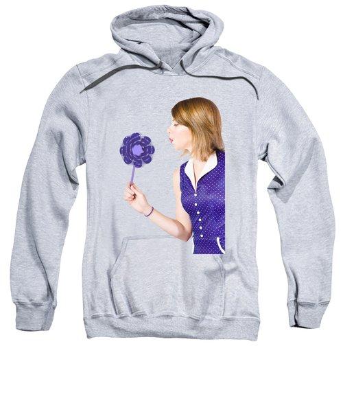 Pretty Pin Up Girl Playing With Purple Pinwheel Sweatshirt