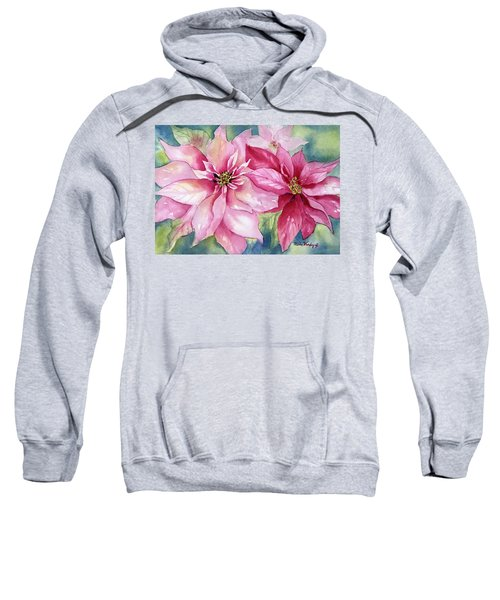 Red And Pink Poinsettias Sweatshirt