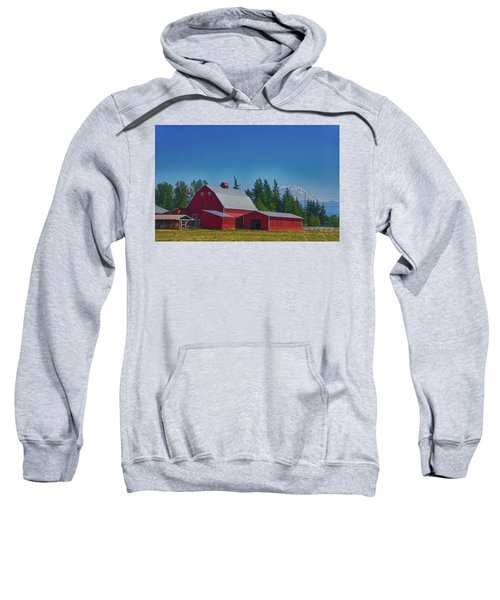 Red Barn With Mount Rainier Sweatshirt