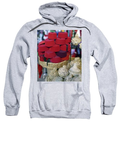 Red Fez Tarbouche And White Wicker Tagine Cookers Sweatshirt