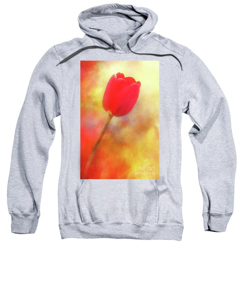 Red Tulip Reaching For The Sun Sweatshirt