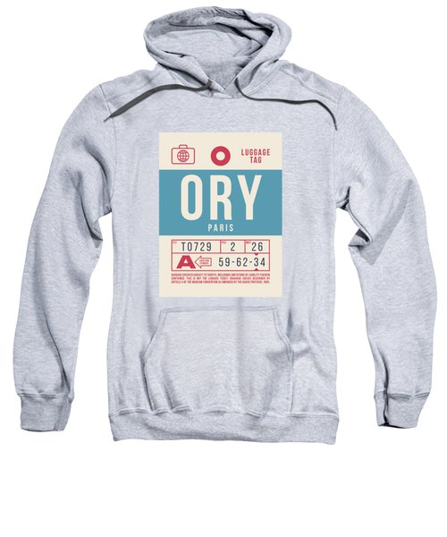 Retro Airline Luggage Tag 2.0 - Ory Paris Orly Airport France Sweatshirt