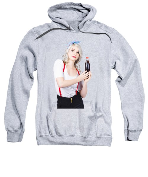 Retro Blond Woman With A Bottle Of Soda Sweatshirt