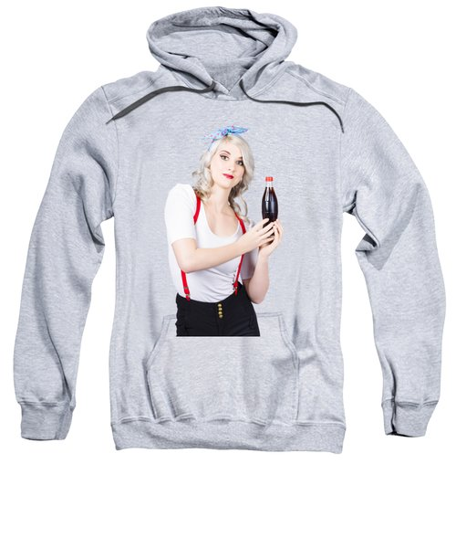 Sweatshirt featuring the photograph Retro Blond Woman With A Bottle Of Soda by Jorgo Photography - Wall Art Gallery