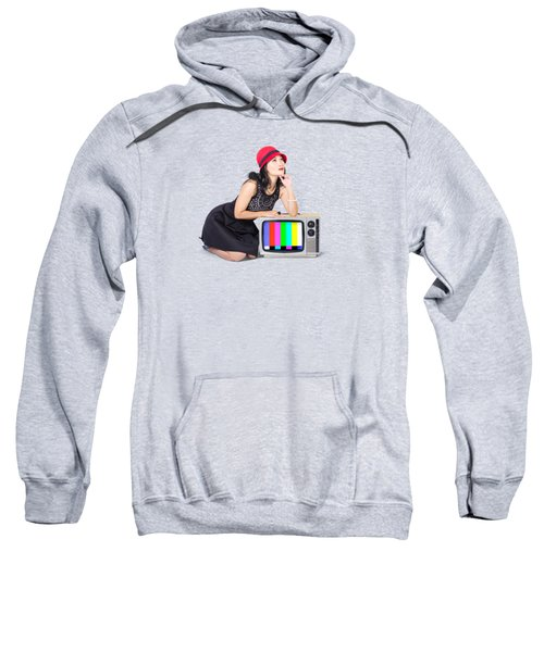 Retro Fashion Communication. Girl On Television Sweatshirt