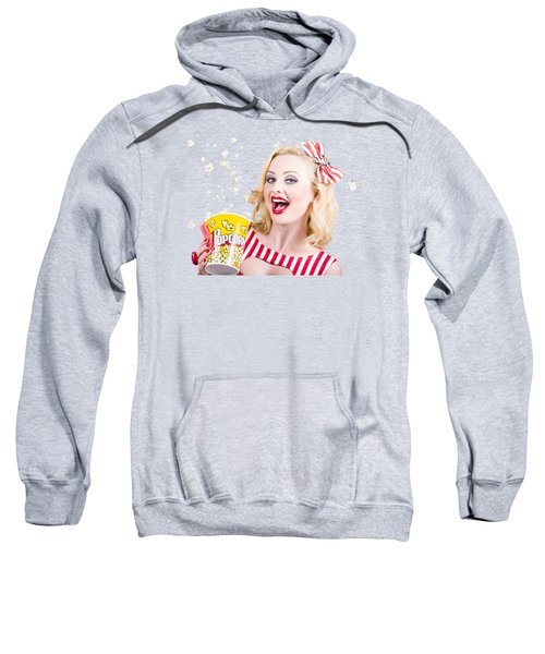 Retro Girl Taking Popcorn To Cinema Sweatshirt