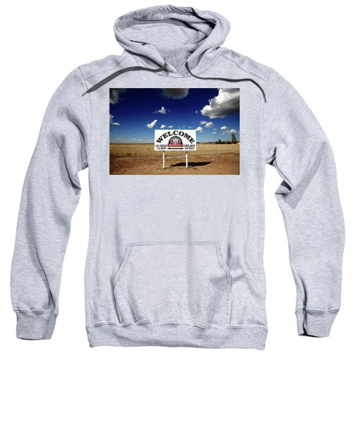 Sweatshirt featuring the photograph Route 66 - Midpoint Sign 2010 Bw by Frank Romeo