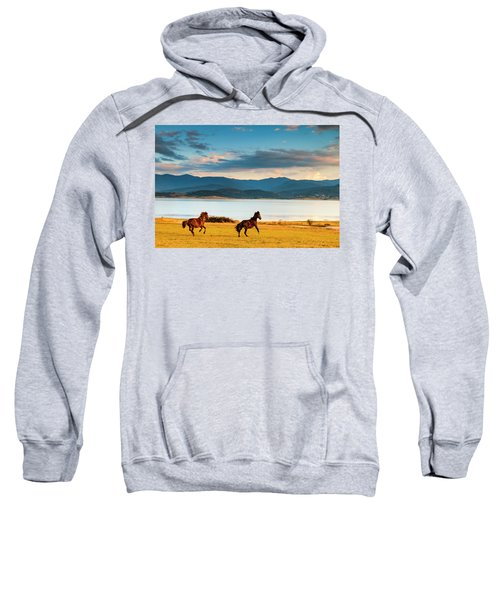 Sweatshirt featuring the photograph Running Horses by Evgeni Dinev