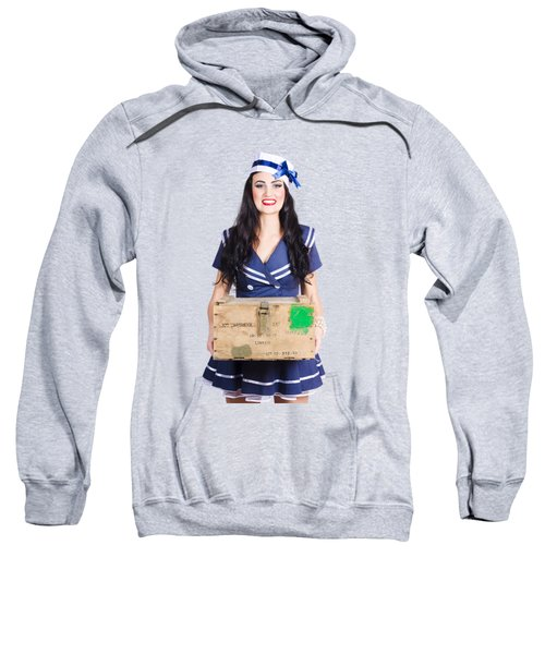 Sailor Pin Up Holding Nautical Supplies Sweatshirt