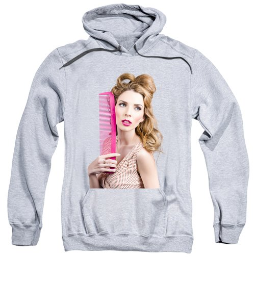 Salon Pin Up Woman With Elegant Hair Style Sweatshirt