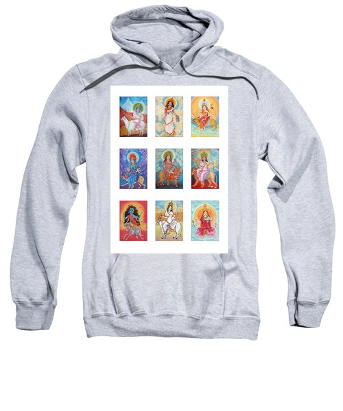 Set Of Images Of Indian Goddess Navaratri. Pastel Drawing. Sweatshirt