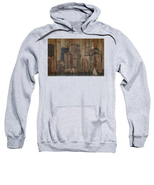 Skyline Of New York, Usa On Wood Sweatshirt