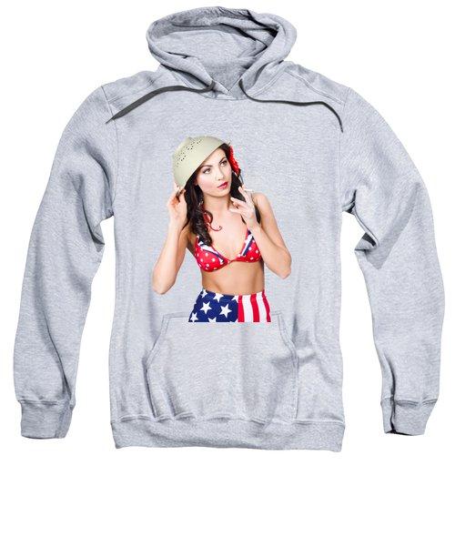 Smoking Hot American Military Pin-up Girl Sweatshirt