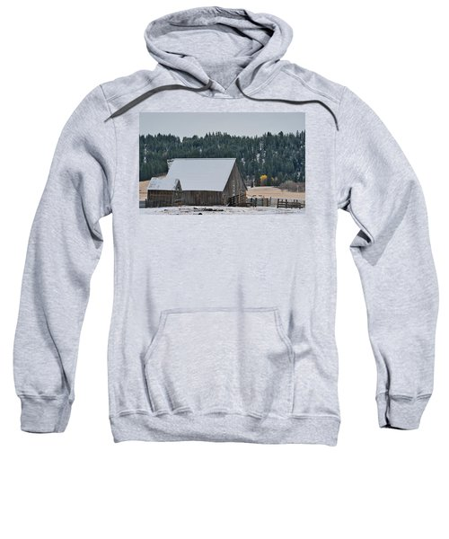 Snowy Barn Yellow Tree Sweatshirt