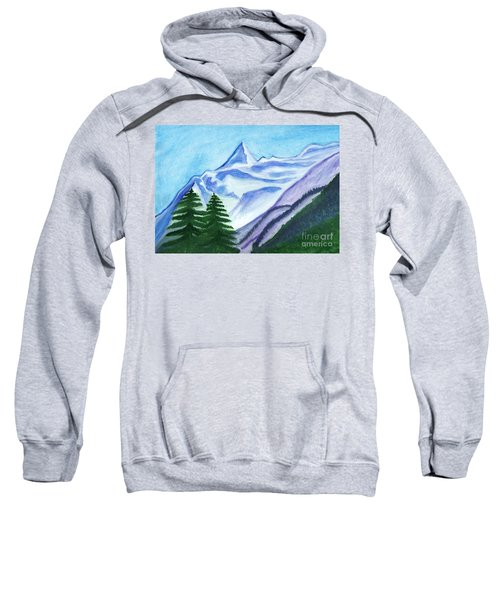 Two Mountain Spruce Against The Backdrop Of Snow-capped Peak Sweatshirt