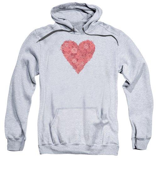 Pink Succulent Heart Dark Background Sweatshirt