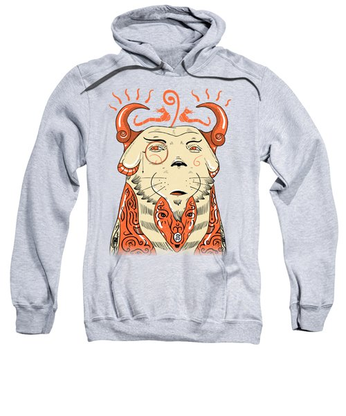 Sweatshirt featuring the drawing Surreal Cat by Sotuland Art