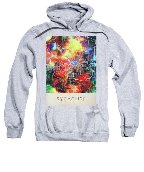 Syracuse New York Watercolor City Street Map Sweatshirt