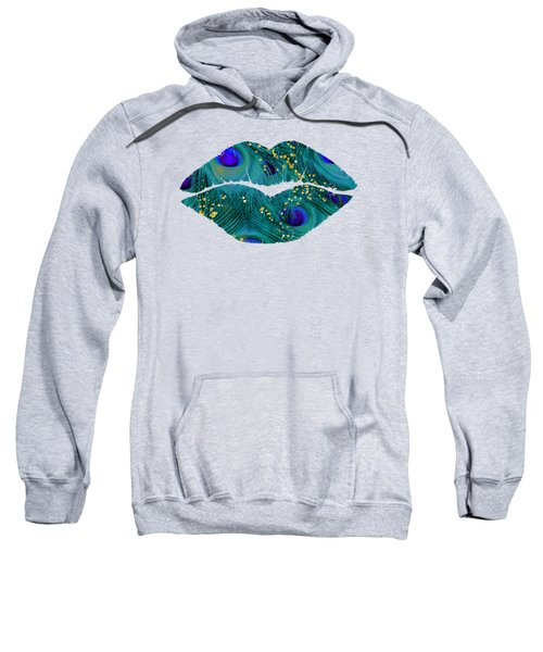 Teal Peacock Lips Kissing Mouth Fashion Art Sweatshirt