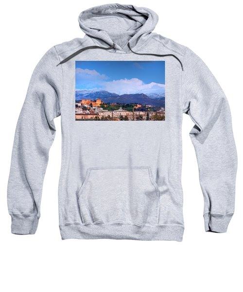 The Alhambra, Albaicin, Granada And Sierra Nevada At Blue Hour Sweatshirt