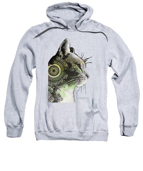 Tides Of Tomorrow - Lime - Mandala Cat Drawing Sweatshirt