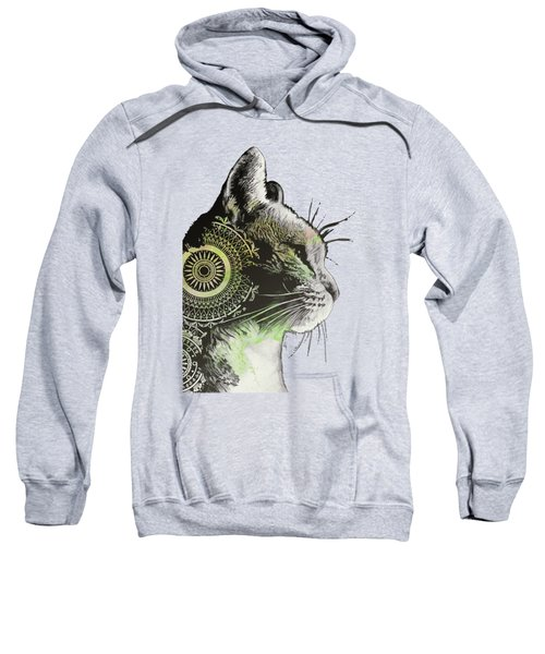Tides Of Tomorrow - Lime - Mandala Cat Drawing Sweatshirt