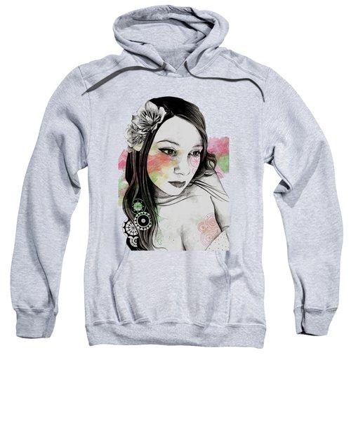 Treasure - Young Cute Girl, Magnolia And Mandalas Sweatshirt